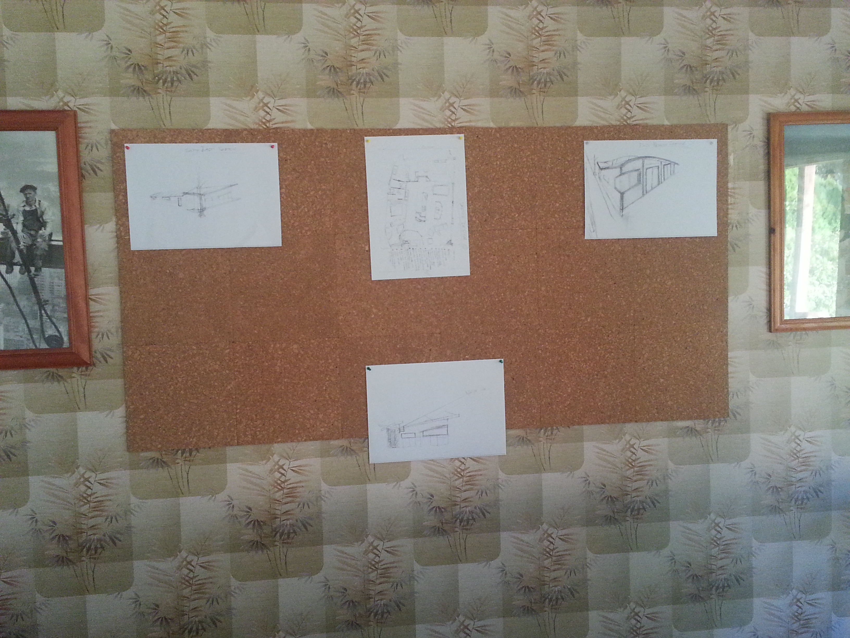 large cork board for pinning design sketches