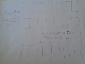 Layout of a 26 panel solar cell array