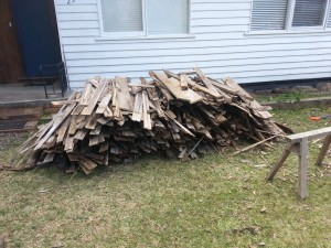 Stack of fence materials