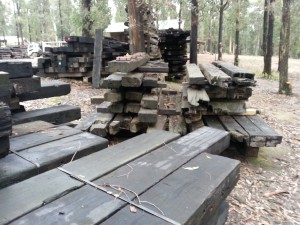 Piles of recycled timber on display