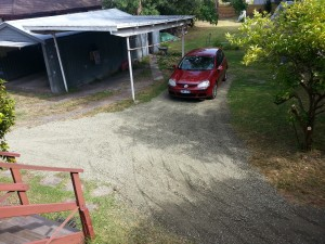 New parking spot for the Golf next to the car port