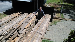Stacks of recycled timber waiting to be moved
