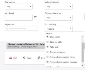Search options in Real Estate offer more specific green features