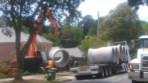 Arrival of new stormwater pipes at the site