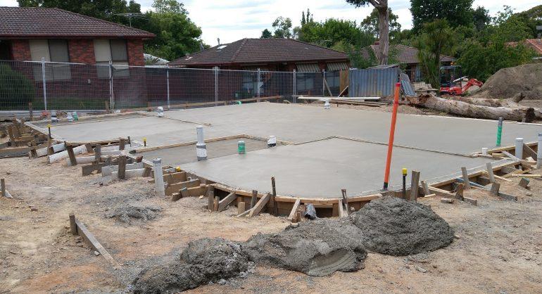Finished concrete slab for Unit 2