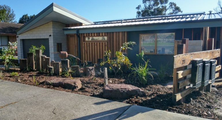 Finished landscaping of Unit 1 front garden